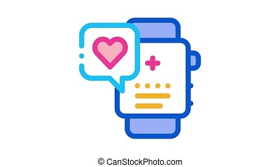wrist watch to indicate work of heart icon outline illustration