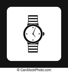 Wrist womens watch icon, simple style