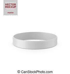 wristband, branca, vetorial, escarneça, cima., matte, silicone