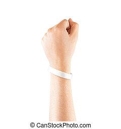 wristband, mockup, mano, aislado, caucho, blanco, blanco