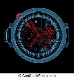 Wristwatch (3D xray red and blue transparent) - Wristwatch...