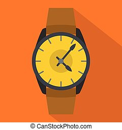 Wristwatch businessman icon, flat style