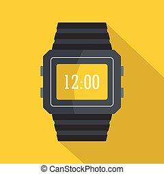 Wristwatch icon, flat style