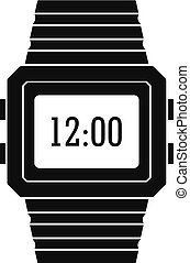 Wristwatch icon, simple black style