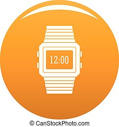 Wristwatch icon vector orange