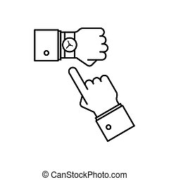Wristwatch on the hand line icon