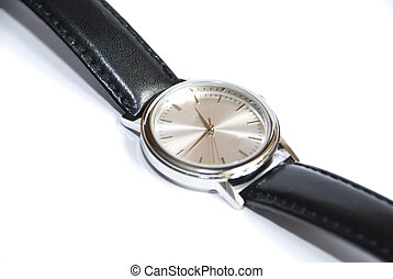 wristwatch on white