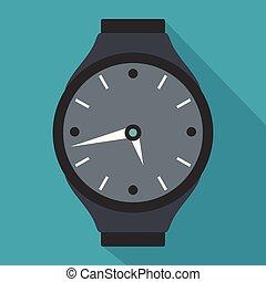 Wristwatch round icon, flat style