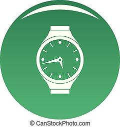 Wristwatch round icon vector green