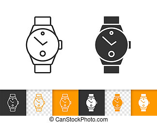 Wristwatch simple black line vector timer icon