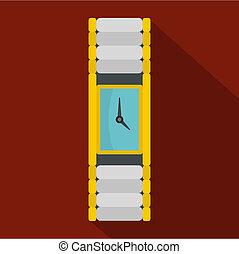 Wristwatch woman icon, flat style