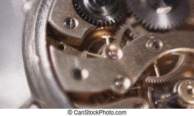 Wristwatches mechanism macro shot sequence