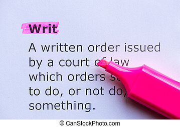 writ  word highlighted on the white background