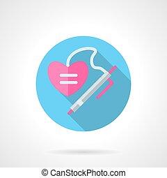 Write a love wish flat round vector icon