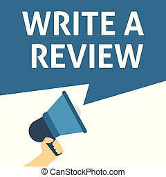 WRITE A REVIEW Announcement. Hand Holding Megaphone With Speech Bubble