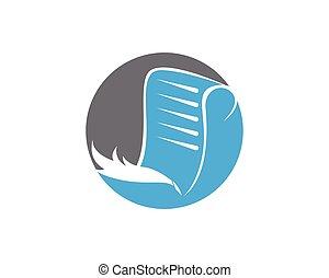 Write Book With Feather Pen Logo Design