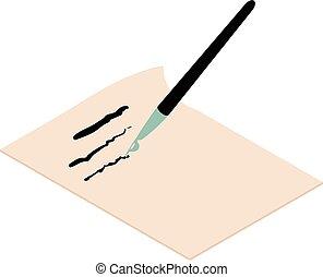 Write brush icon, isometric 3d style - Write brush icon....
