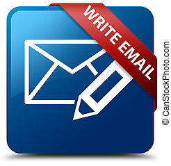 Write email blue square button red ribbon in corner