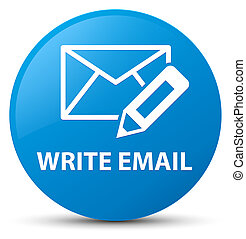 Write email cyan blue round button