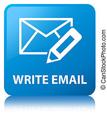 Write email cyan blue square button
