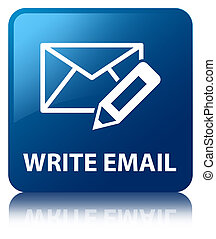 Write email glossy blue reflected square button