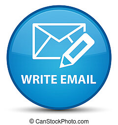 Write email special cyan blue round button