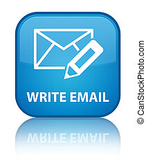Write email special cyan blue square button