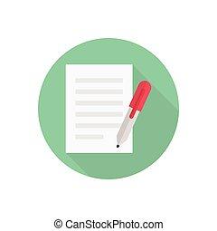 write  flat color icon