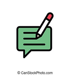 write flat color icon