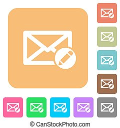 Write mail rounded square flat icons