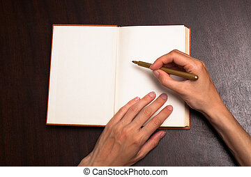 Write on open book