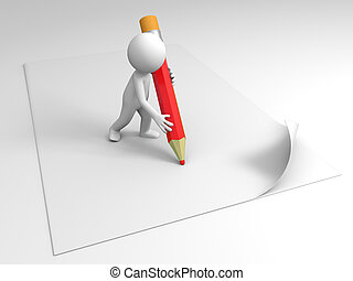 Write on paper - A person to write with a pencil on paper