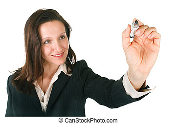 write or draw - businesswoman presenting drawing something,...