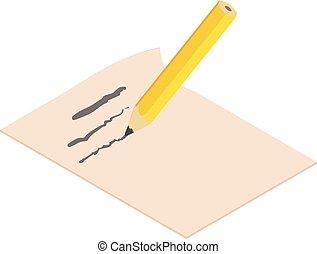 Write pencil icon, isometric 3d style - Write pencil icon....
