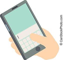 Write phone icon, isometric 3d style
