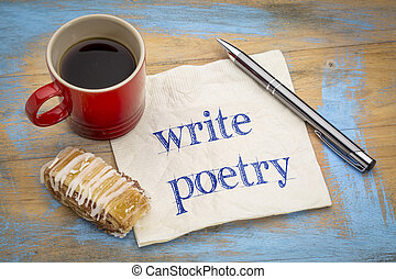write poetry - text on napkin