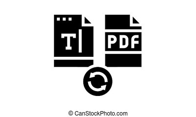 write text in pdf file animated glyph icon. write text in pdf file sign. isolated on white background