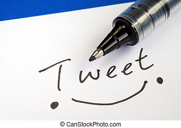 Write the word Tweet and draw a happy smile