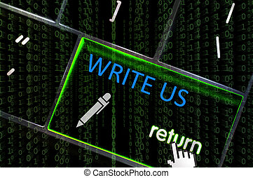 Write Us concept with the focus on the return button overlaid with binary code