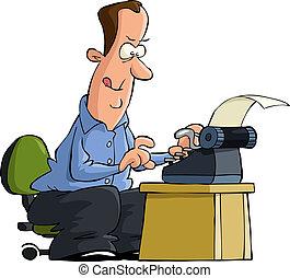 Writer - Man typing on a typewriter vector illustration