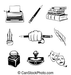 Writer design elements. isolated objects. vintage pen. ink,...