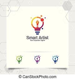 Writer logo bulb idea design concept of pencil icon and colorful lamp vector. Creative idea logo used for studio, professional and agency.