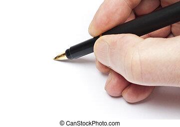 Writer - Man hand write with black pen