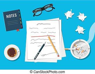 Writer or journalist workplace.