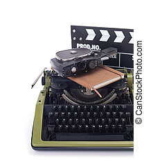 writer or screenwriter concept from vintage retro typewriter isolated on white background