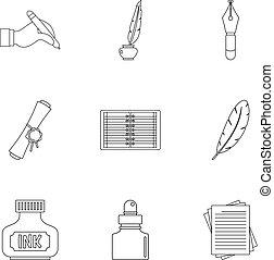 Writer pen icon set, outline style - Writer pen icon set....