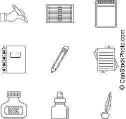 Writer pen tools icon set, outline style - Writer pen tools...