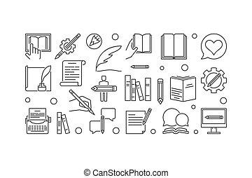 Writer vector linear horizontal banner or illustration -...