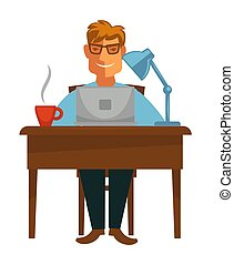 Writer with laptop at desk coffee cup and lamp book writing...