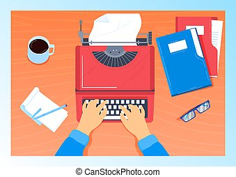 Writer working writing desk at workplace, working with papers in office, modern workspace, flat style vector illustration. Hands typist writer on table with typewriter, accessories for writing author.